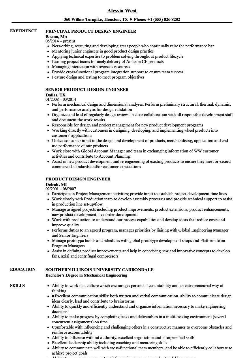 Product Design Engineer Resume Samples Velvet Jobs