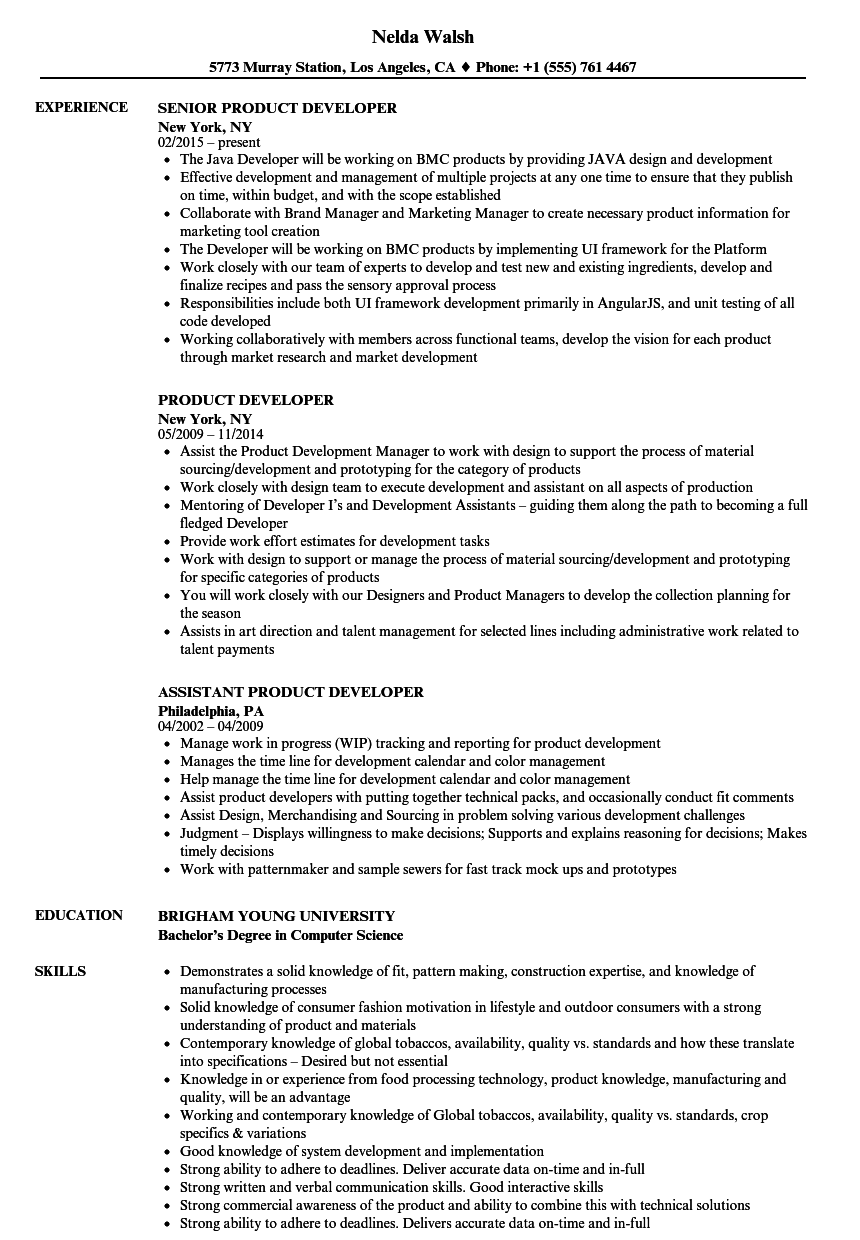Product Developer Resume Samples | Velvet Jobs