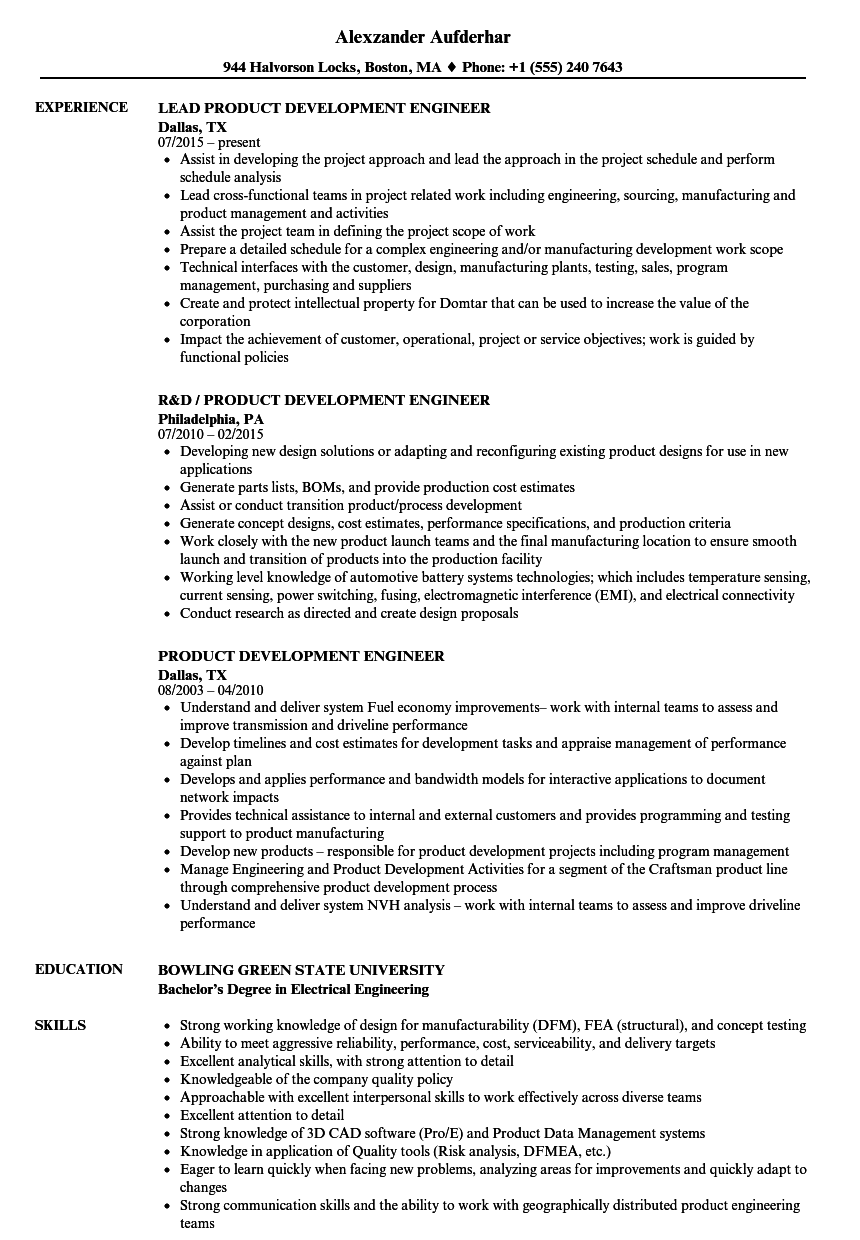 product development engineer resume samples