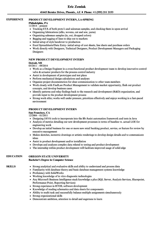 product development intern resume samples