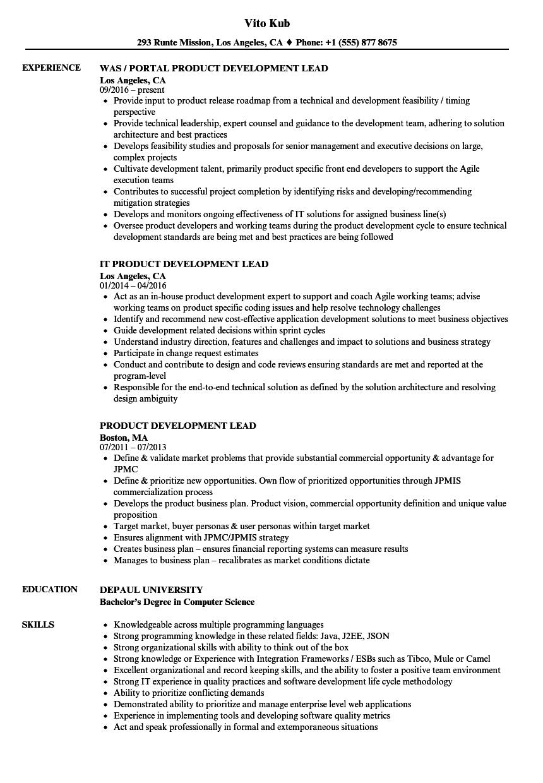 product development lead resume samples