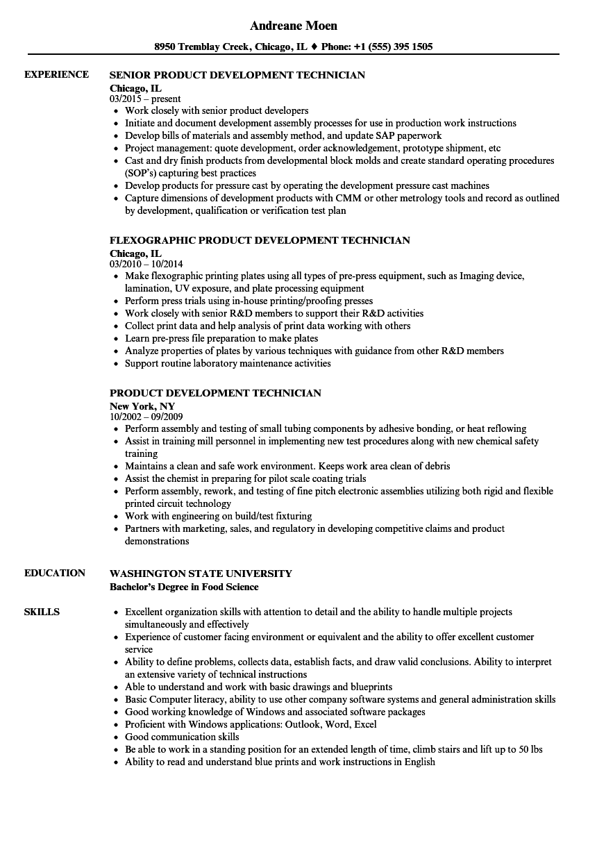 product development technician resume samples