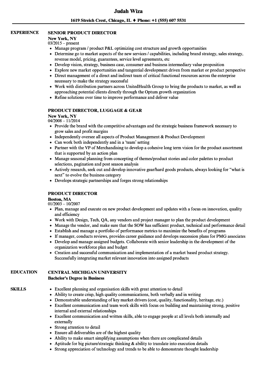 Product Director Resume Samples | Velvet Jobs