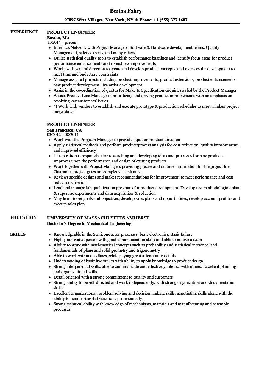 product engineer resume samples velvet jobs
