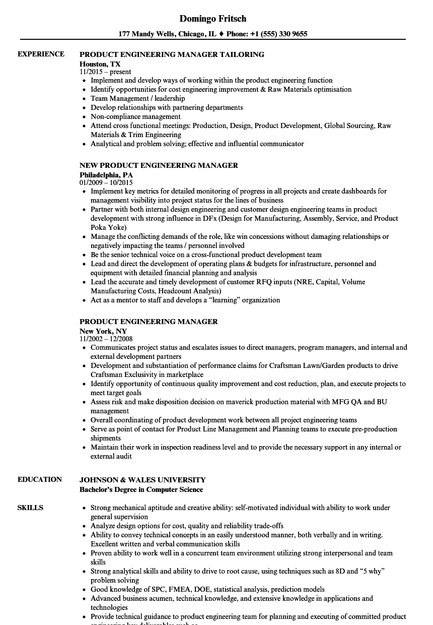 product engineering manager resume samples