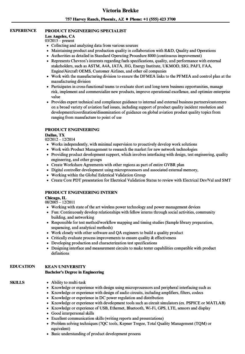 Product Engineering Resume Samples | Velvet Jobs