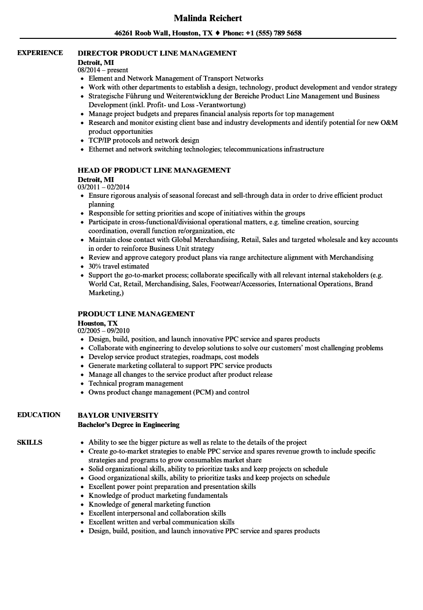 Product Line Management Resume Samples Velvet Jobs