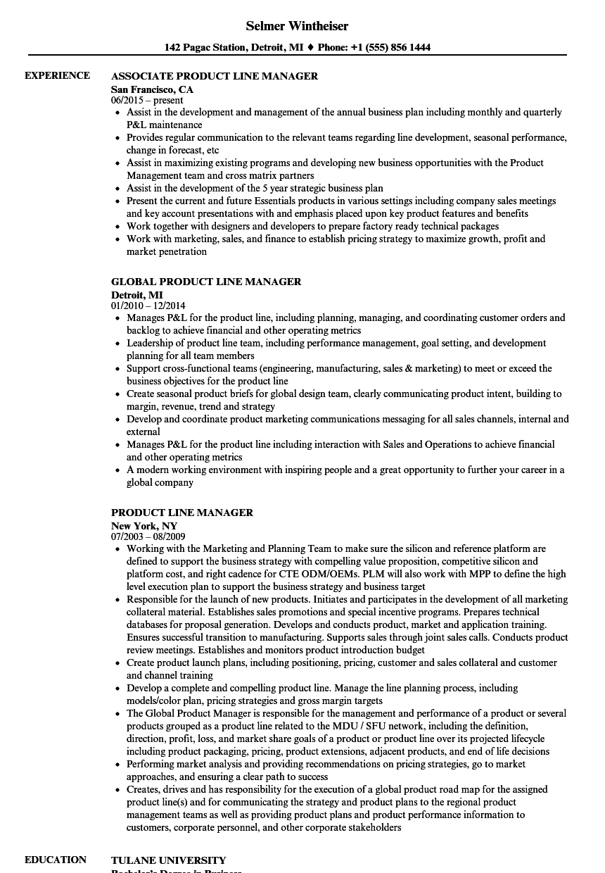 product line manager resume samples