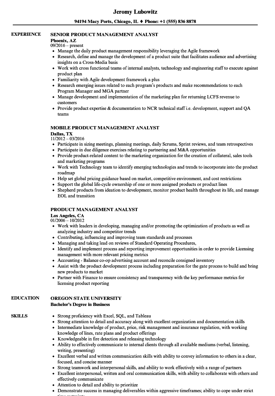 sample management analyst resume