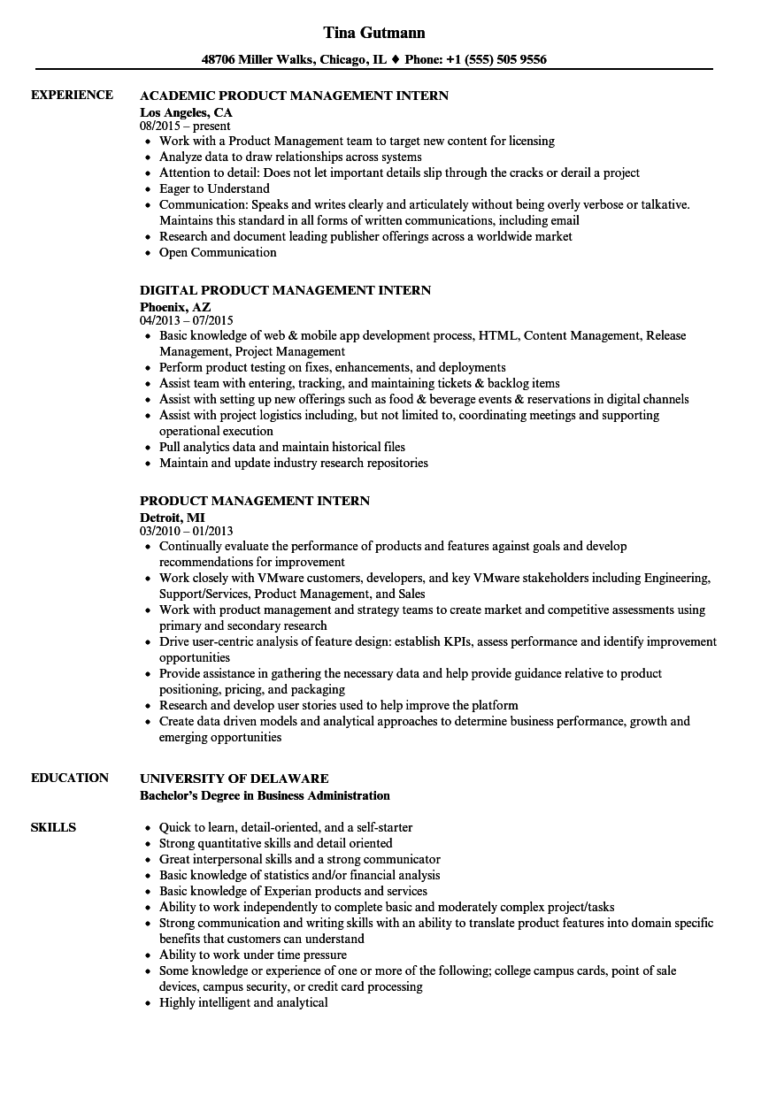Product Management Intern Resume Samples Velvet Jobs