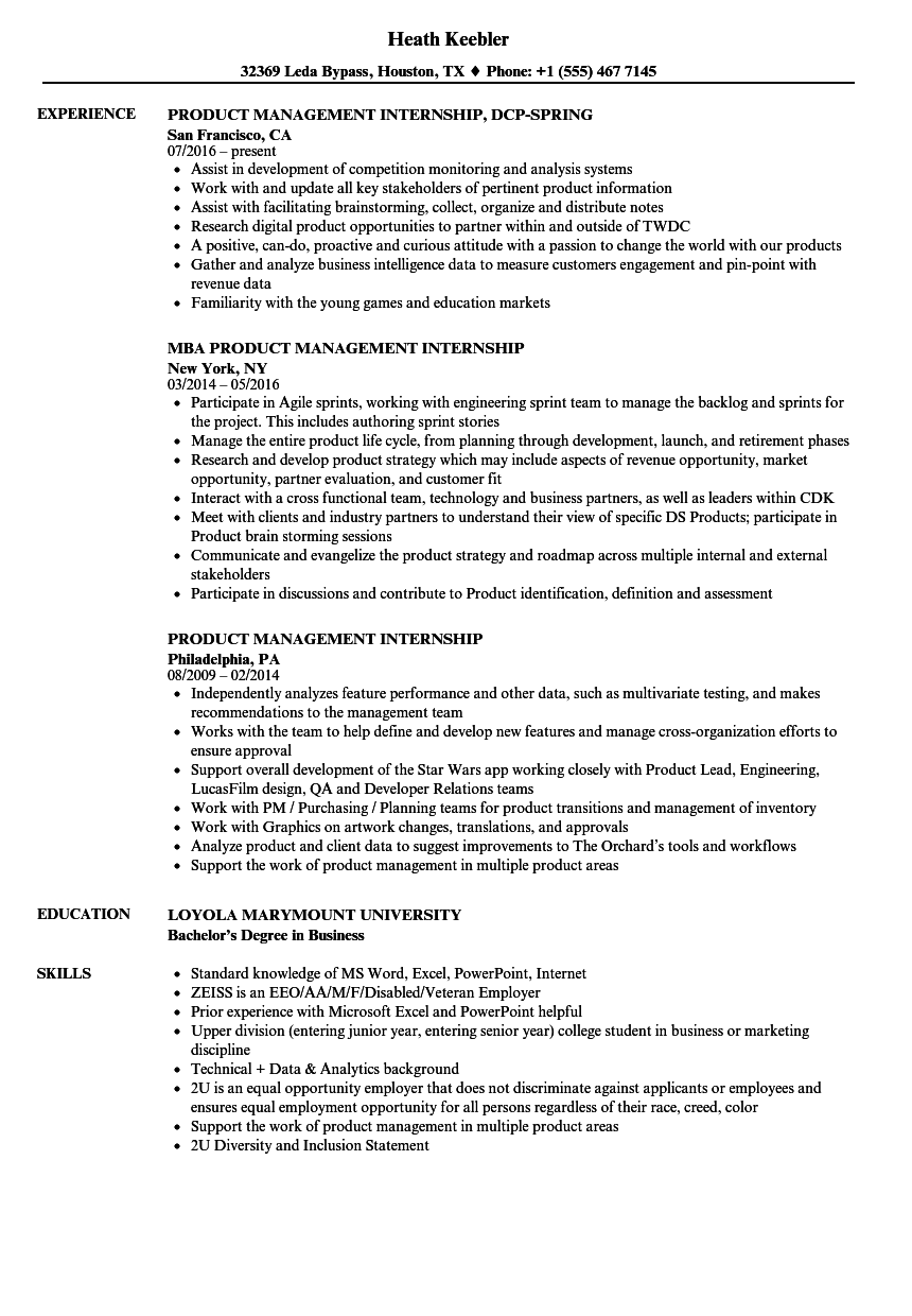 product management internship resume samples
