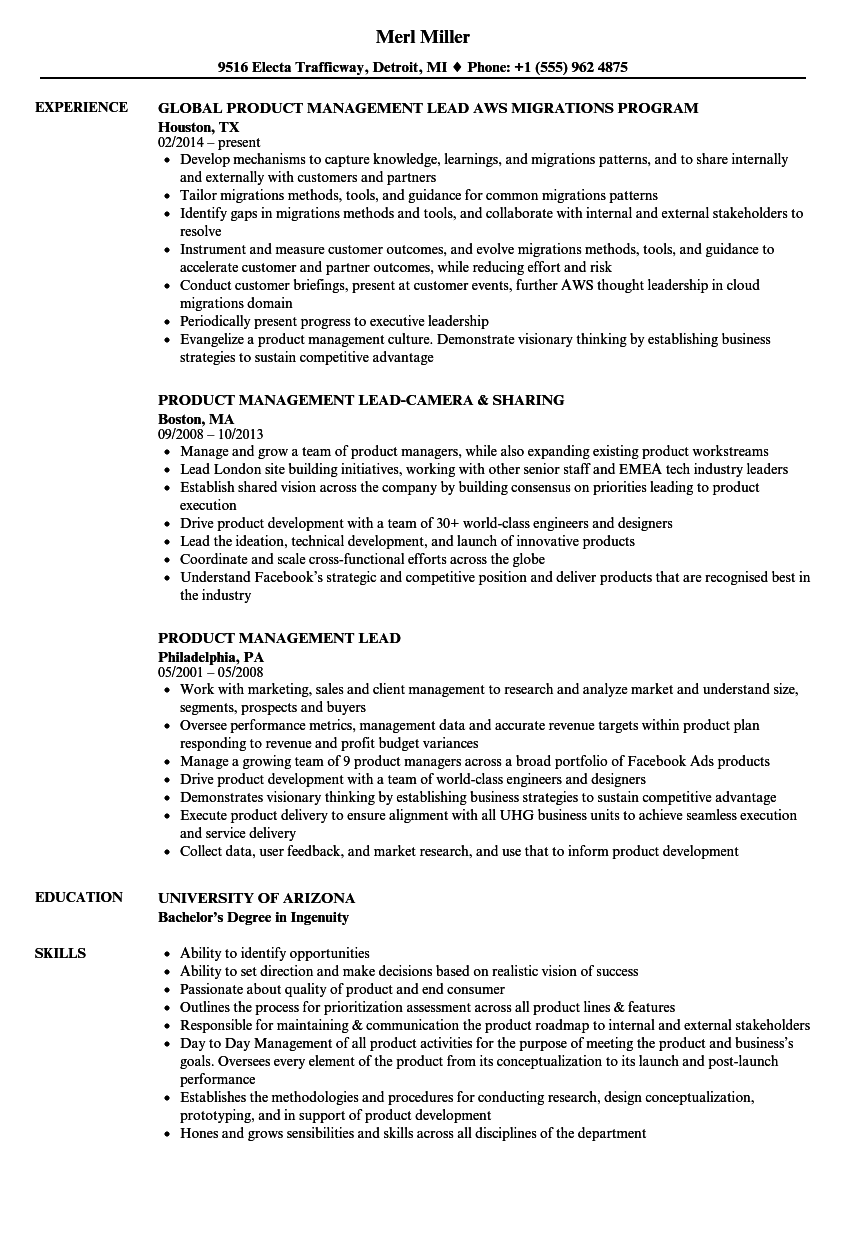 download product management lead resume sample as image file