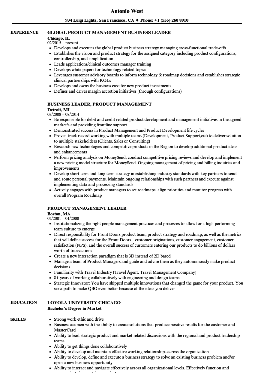 product management leader resume samples