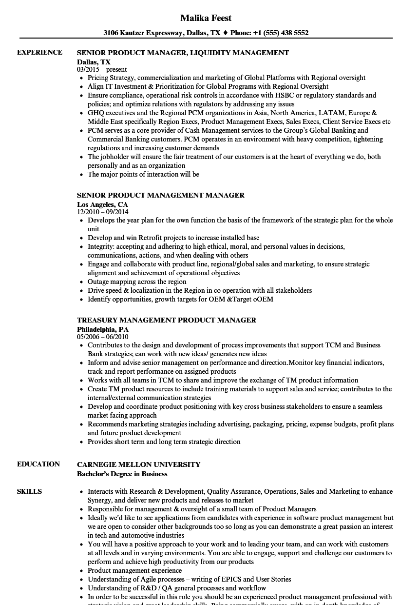 Product Management Manager Resume Samples | Velvet Jobs