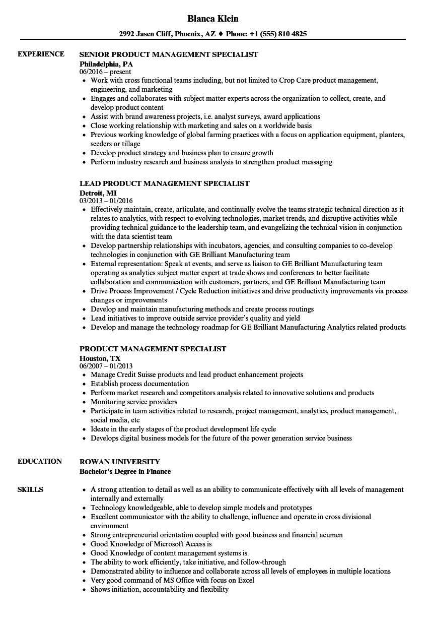 Product Management Specialist Resume Samples Velvet Jobs