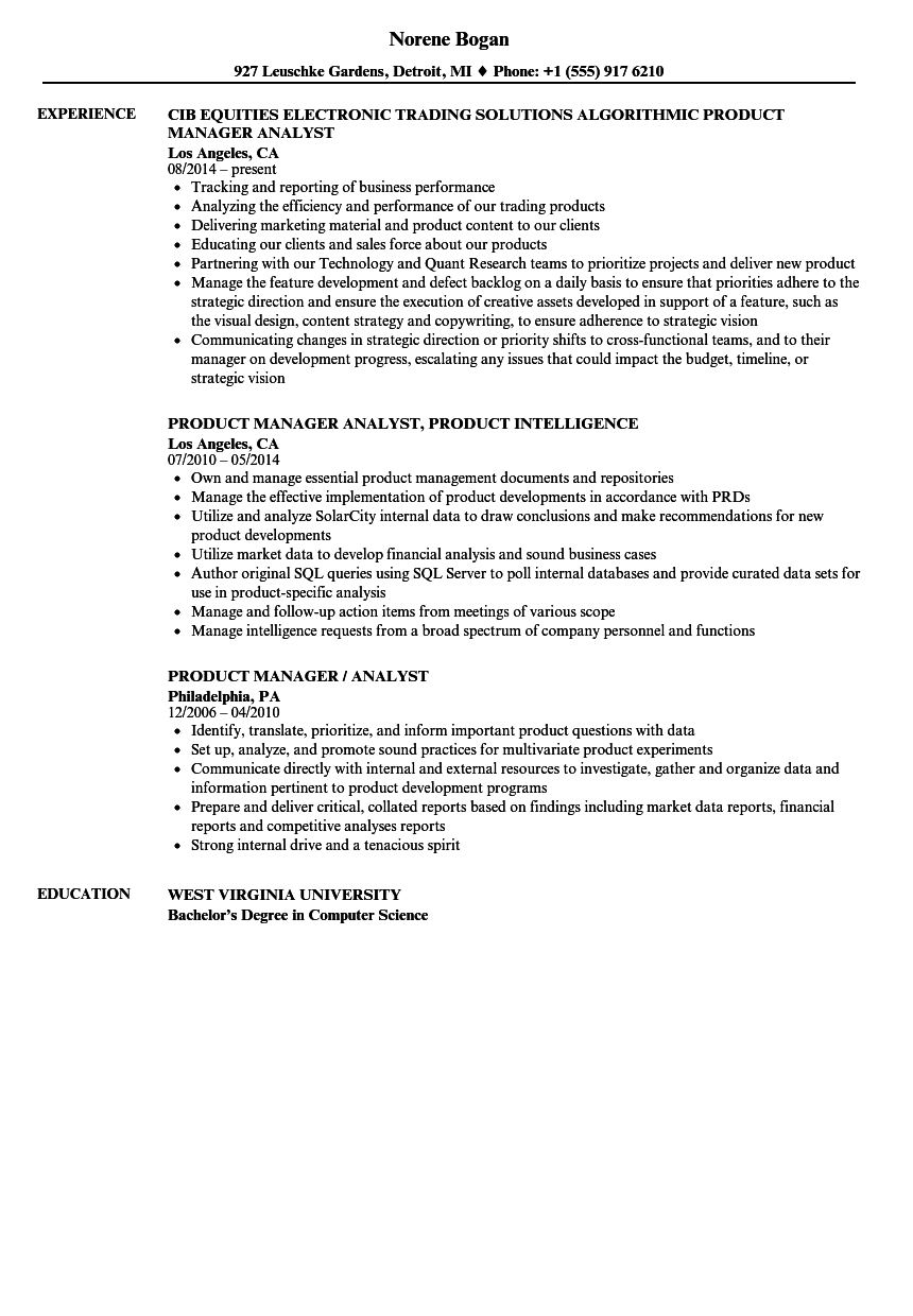 product manager analyst resume samples