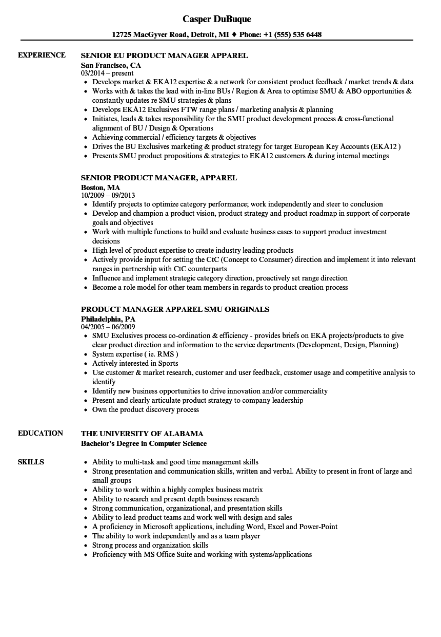 Product Manager Apparel Resume Samples Velvet Jobs