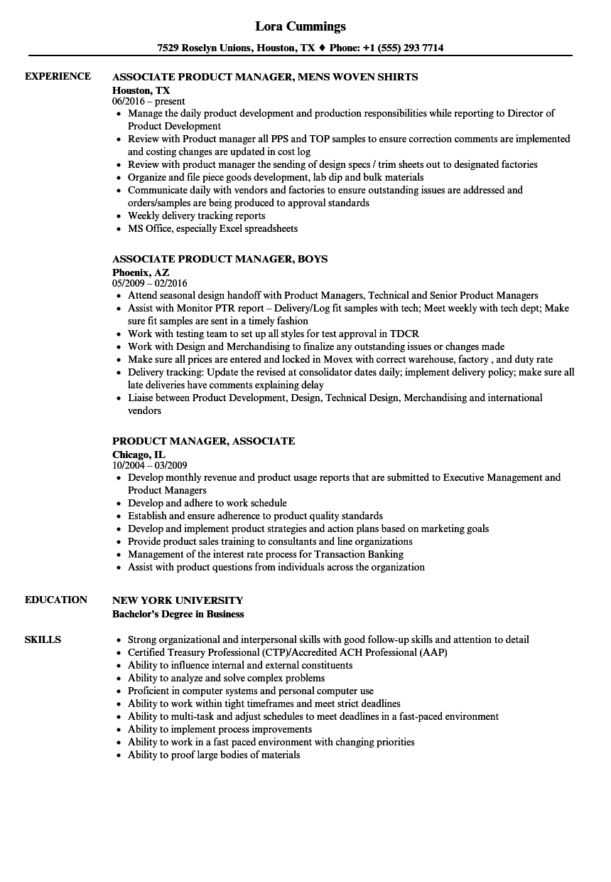 Download Product Manager Associate Resume Sample As Image File