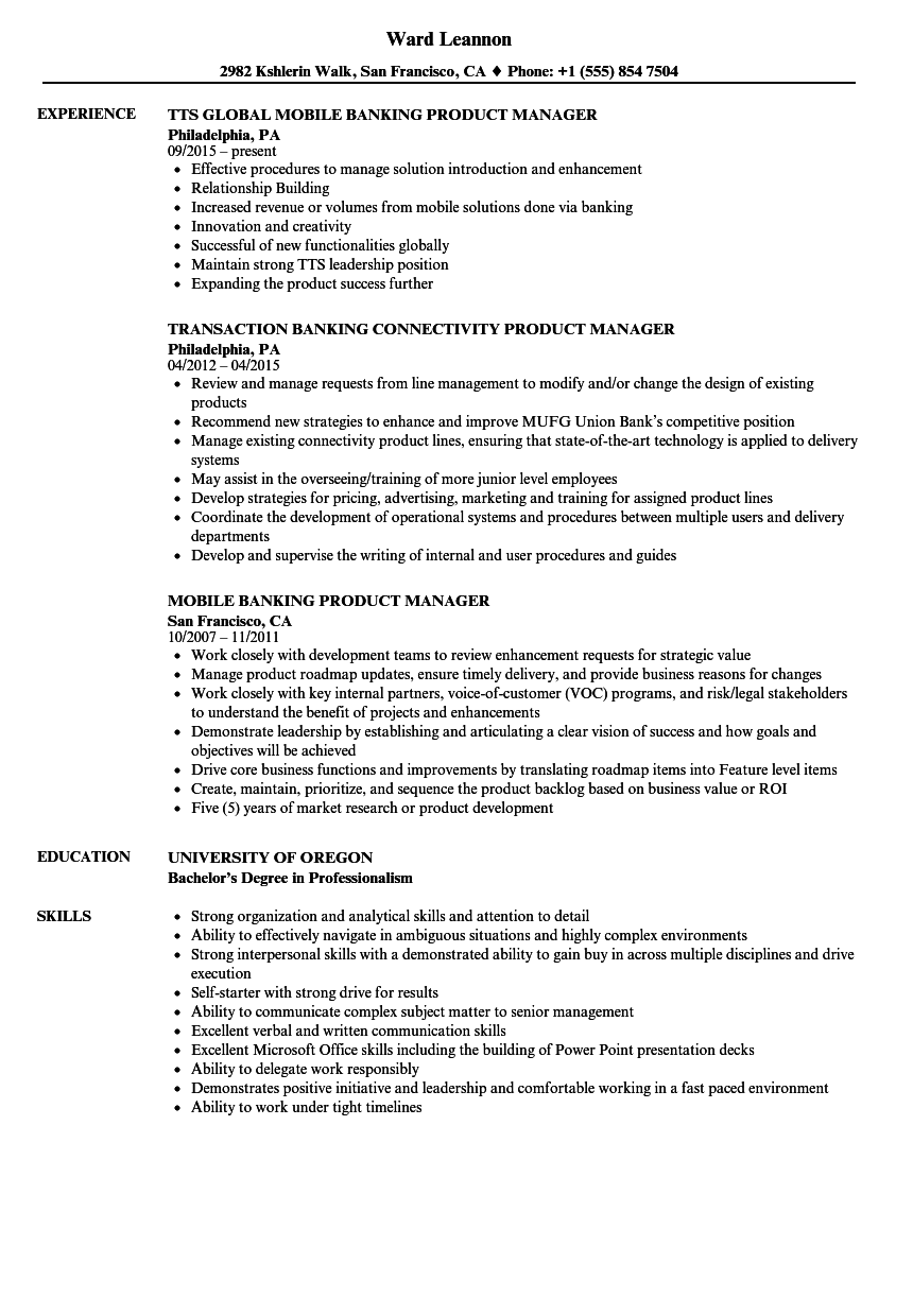 download product manager banking resume sample as image file - Resume Sample Of Product Manager