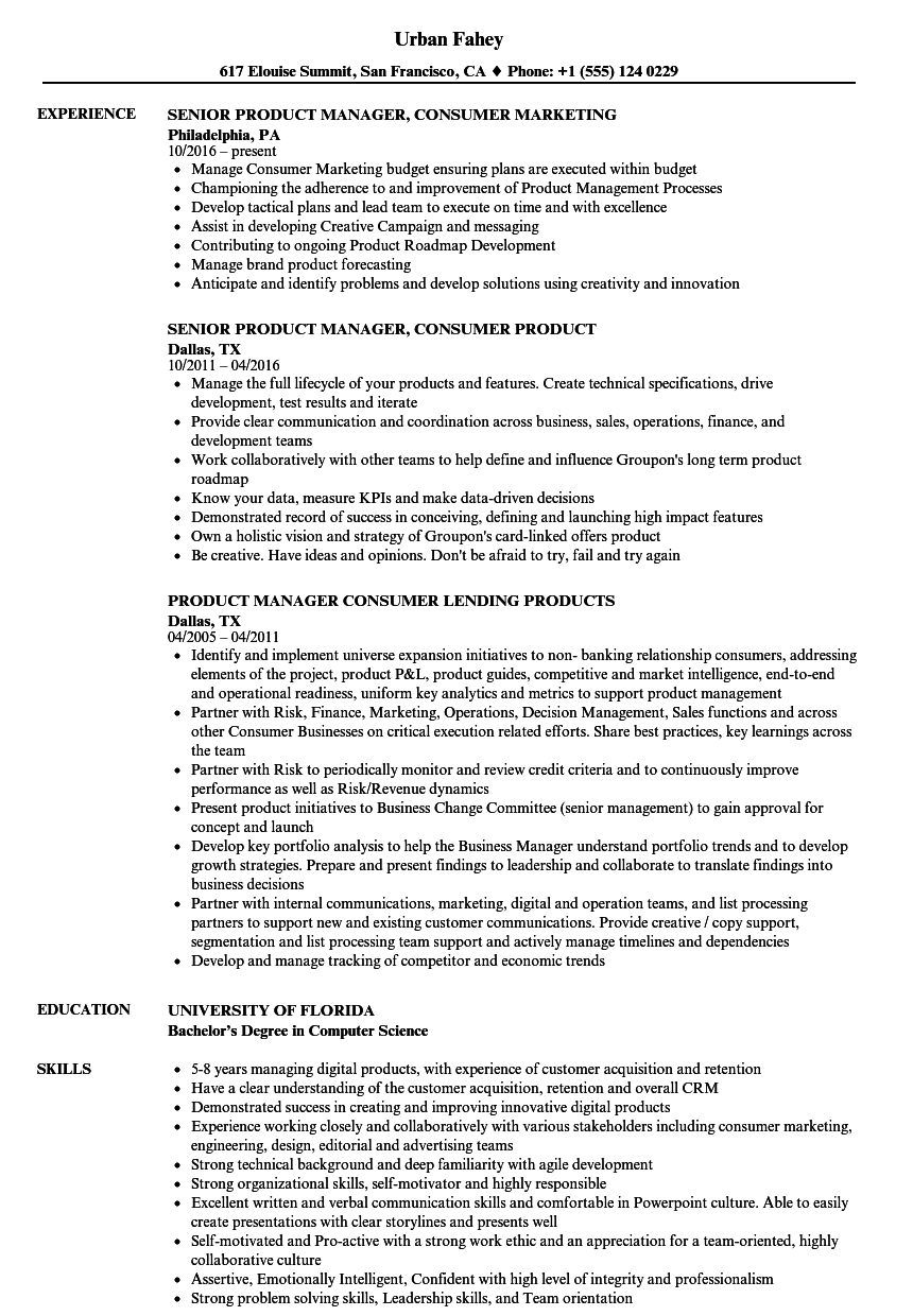 product manager consumer resume samples