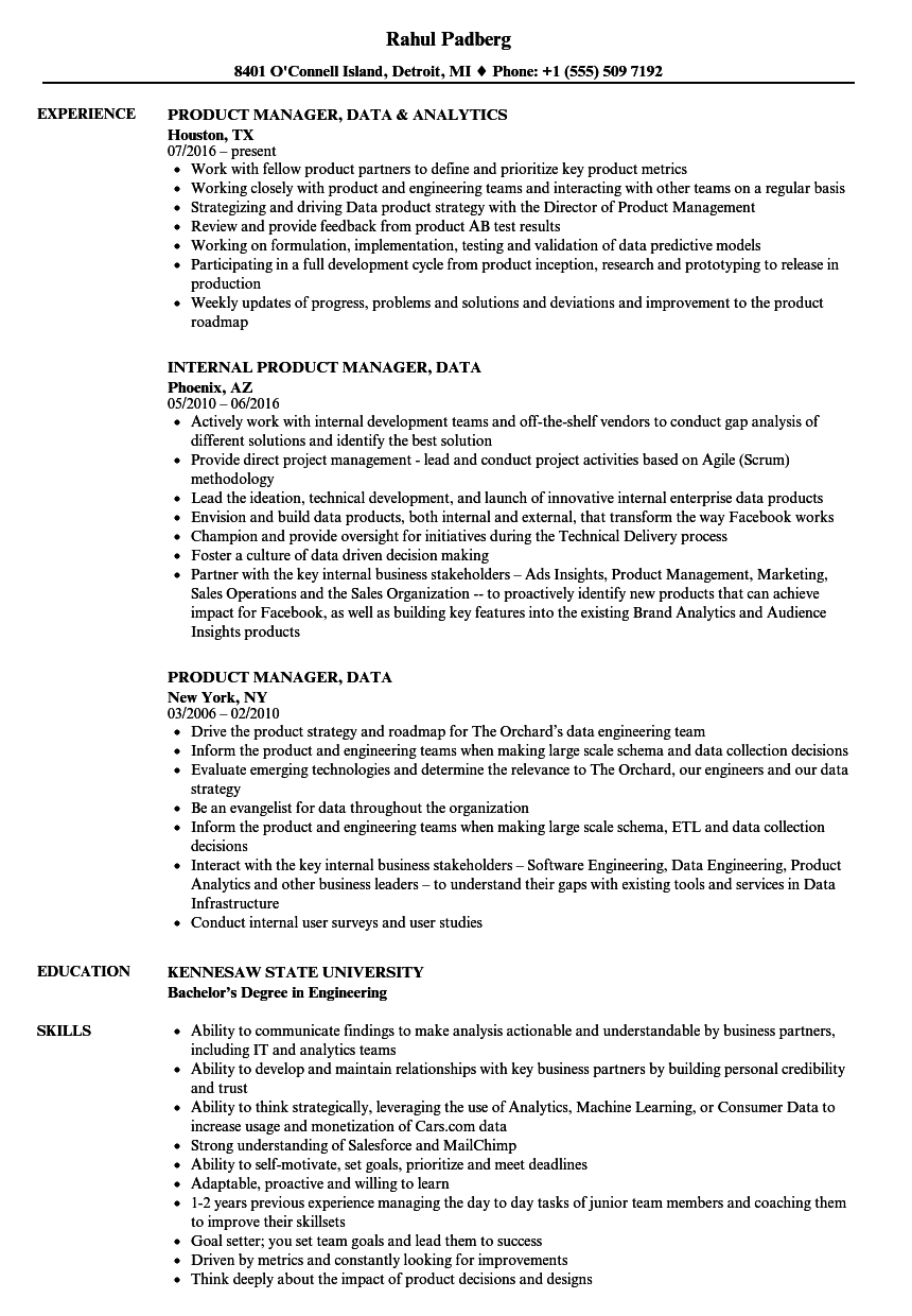 Related Job Titles. Junior Product Manager Resume Sample