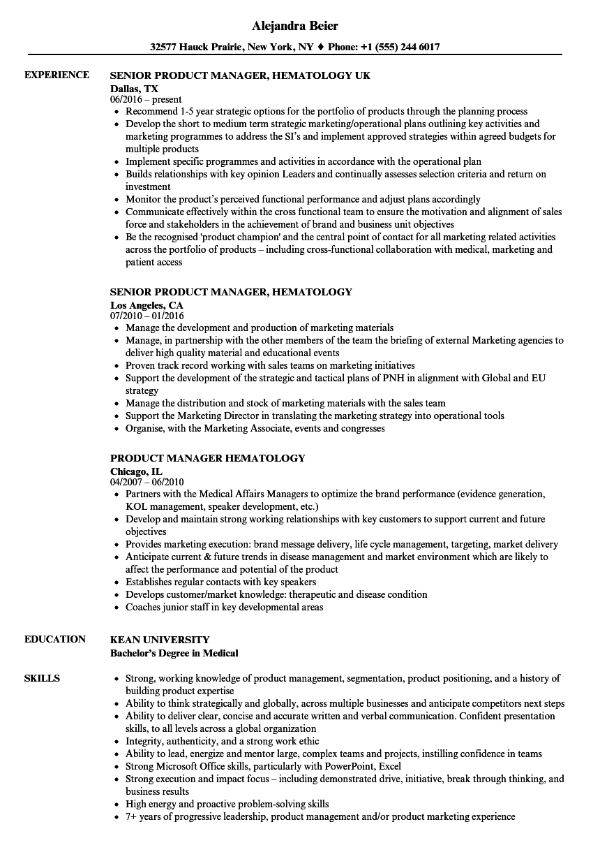 product manager  hematology resume samples