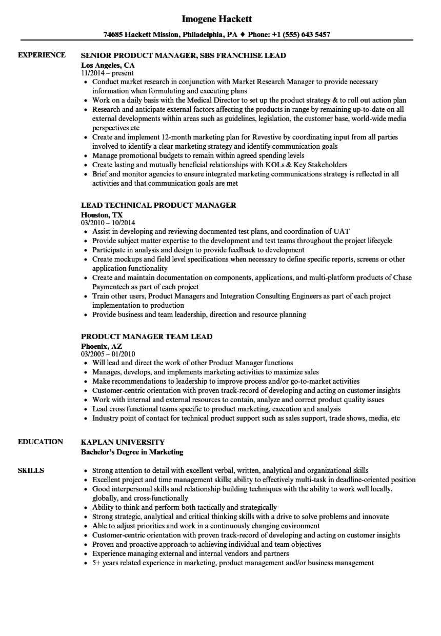 download product manager lead resume sample as image file - Product Manager Sample Resume