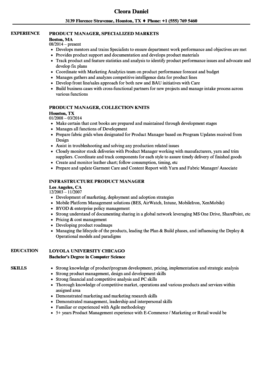 Related Job Titles. International Product Manager Resume Sample