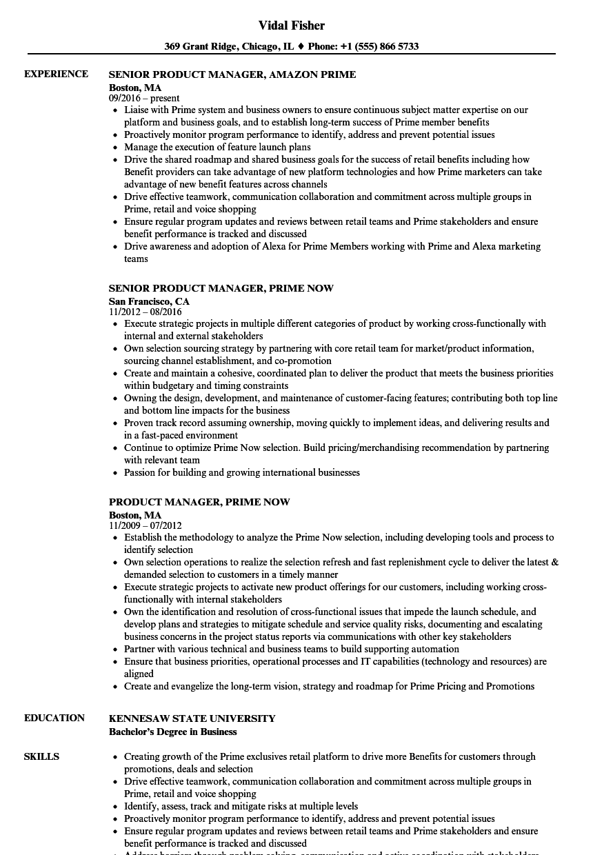 Product Manager Prime Resume Samples Velvet Jobs