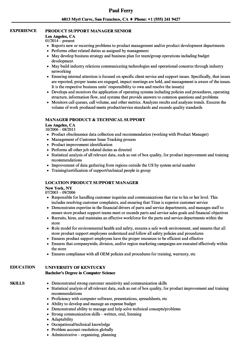 Download Product Manager Support Resume Sample As Image File
