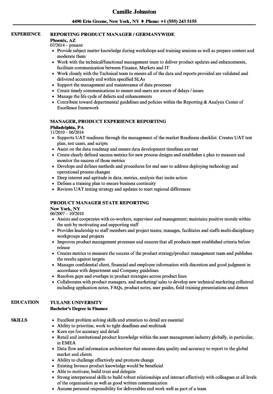 technical product manager sle resume exercise