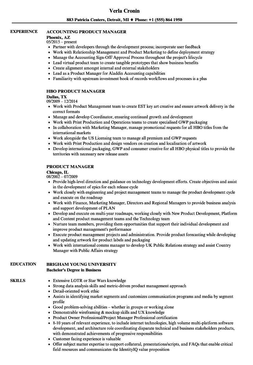 Velvet Jobs  Sample Product Manager Resume