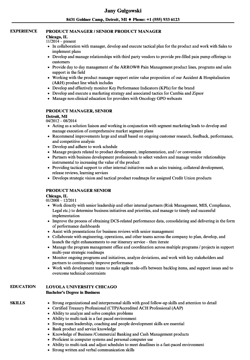 product manager  senior resume samples