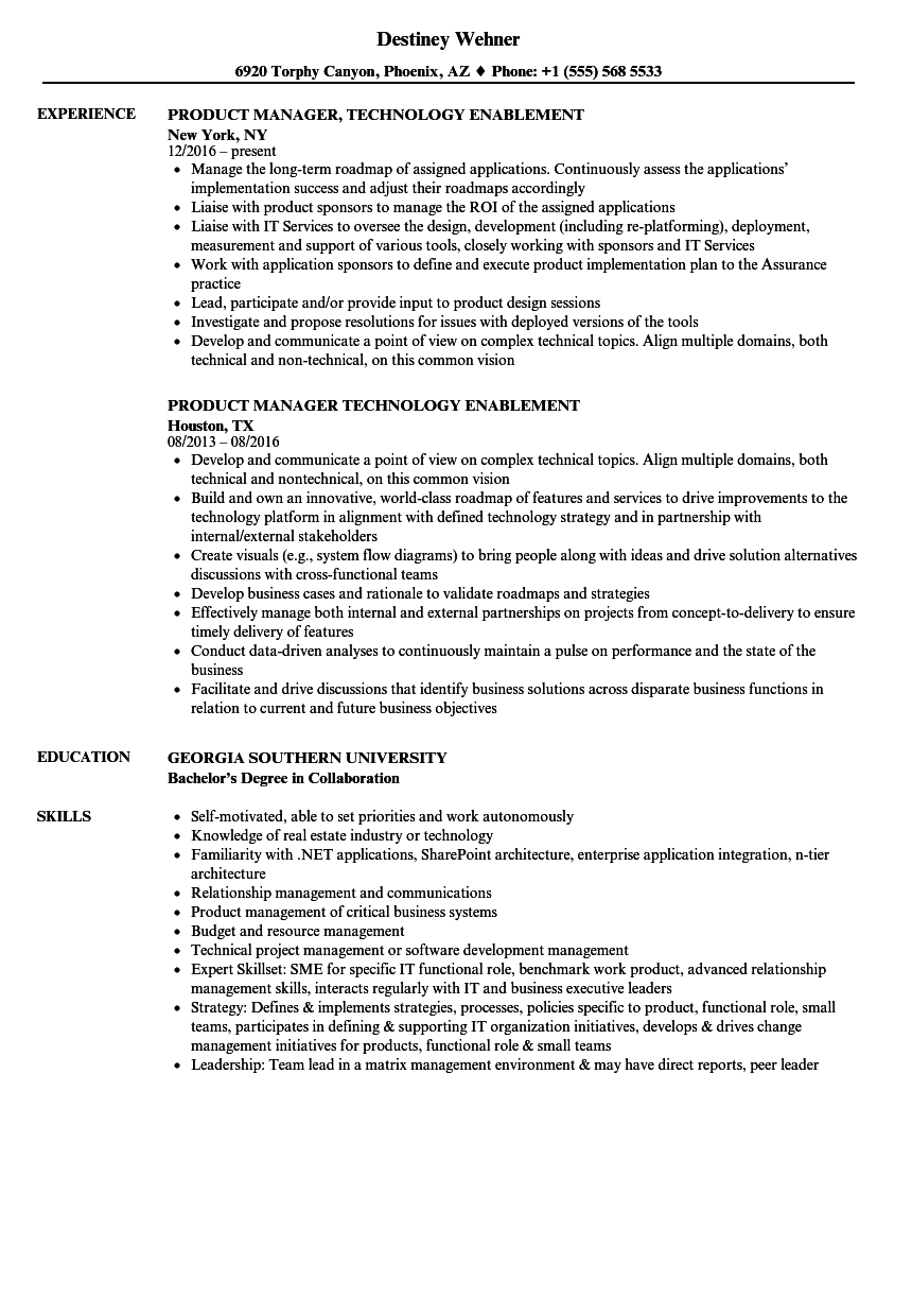 Download Product Manager, Technology Resume Sample As Image File  Technology Resume Examples