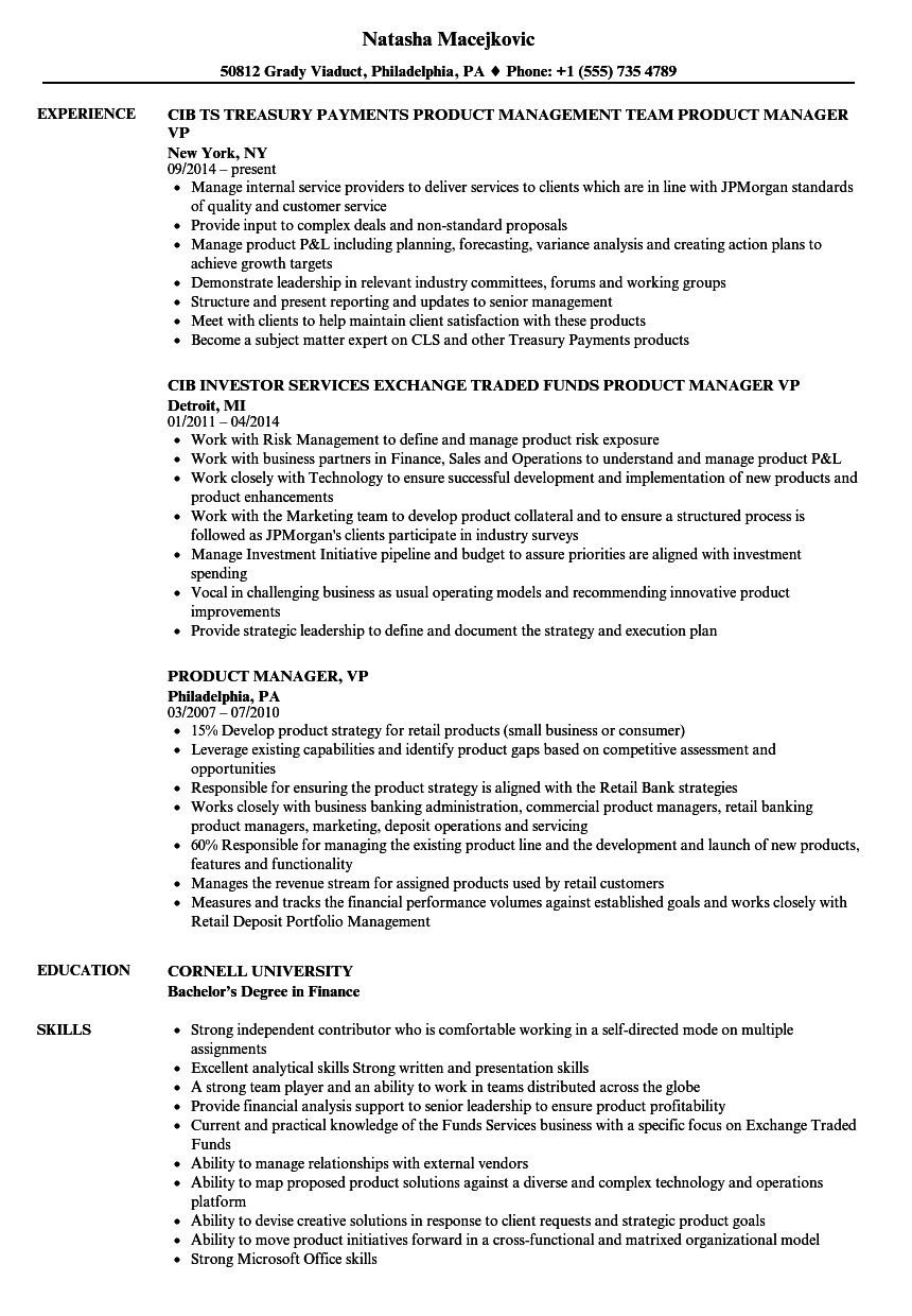 product manager  vp resume samples