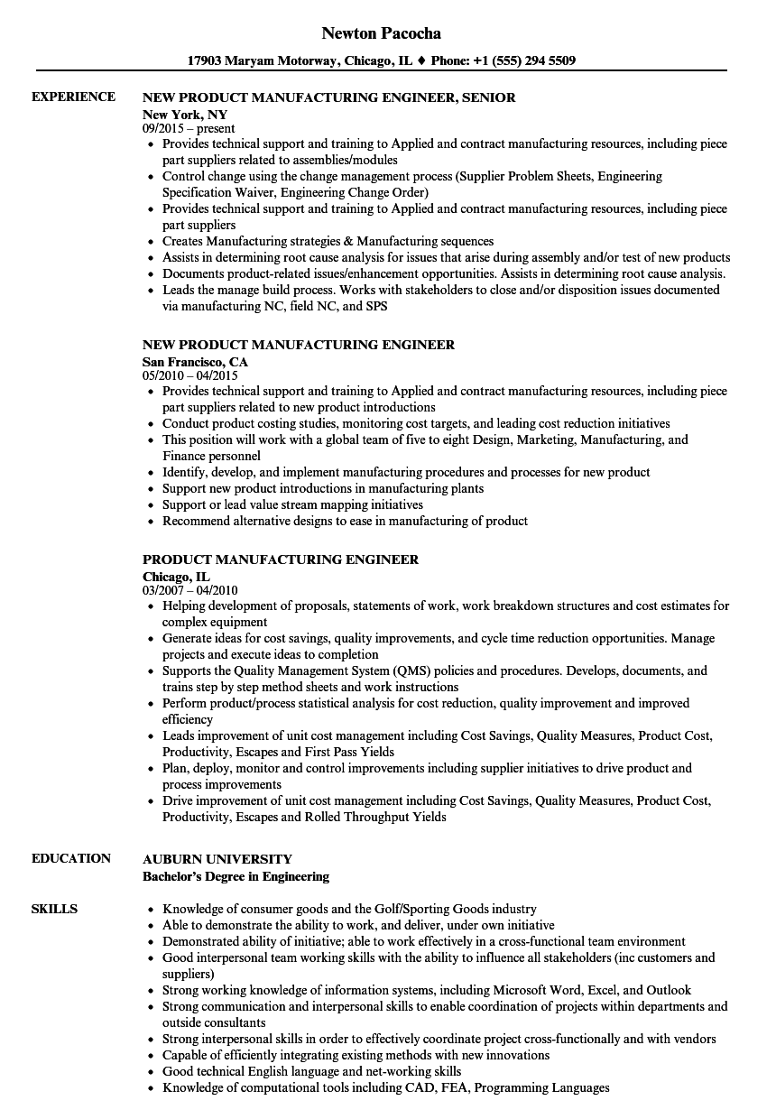product manufacturing engineer resume samples