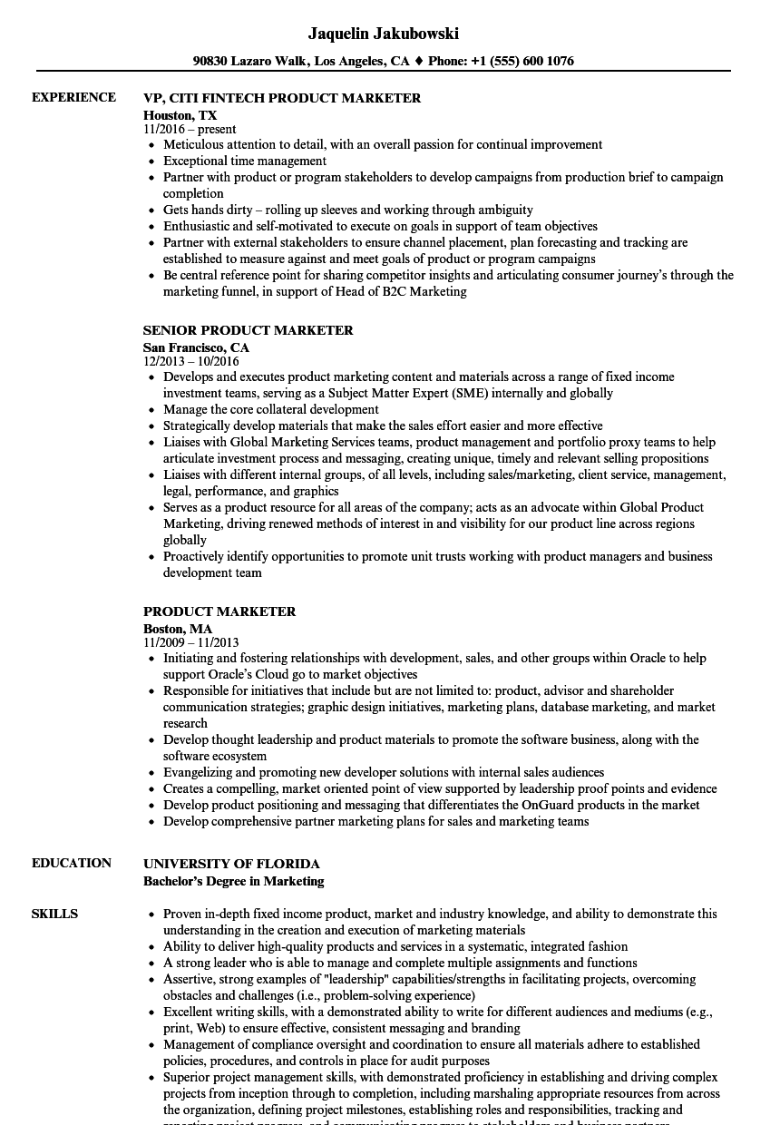 Product Marketer Resume Samples Velvet Jobs