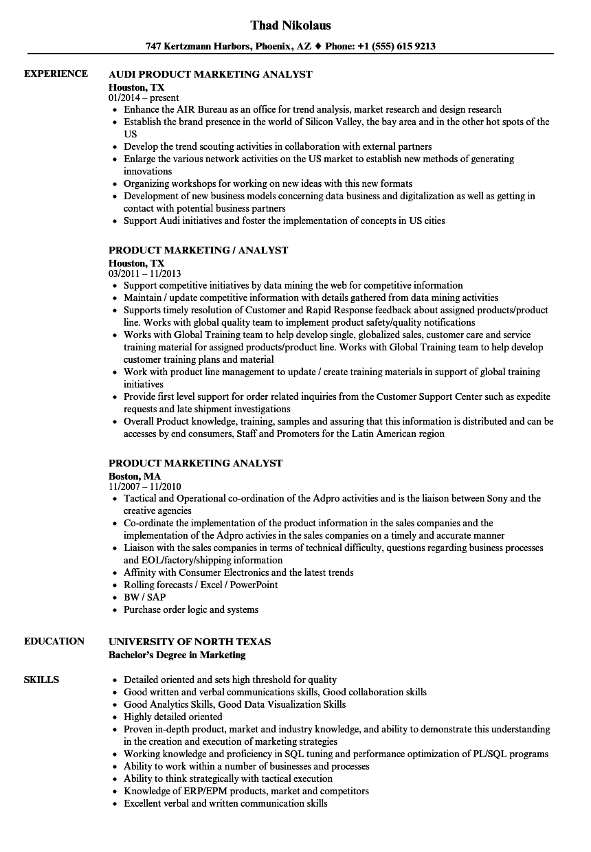 download product marketing analyst resume sample as image file