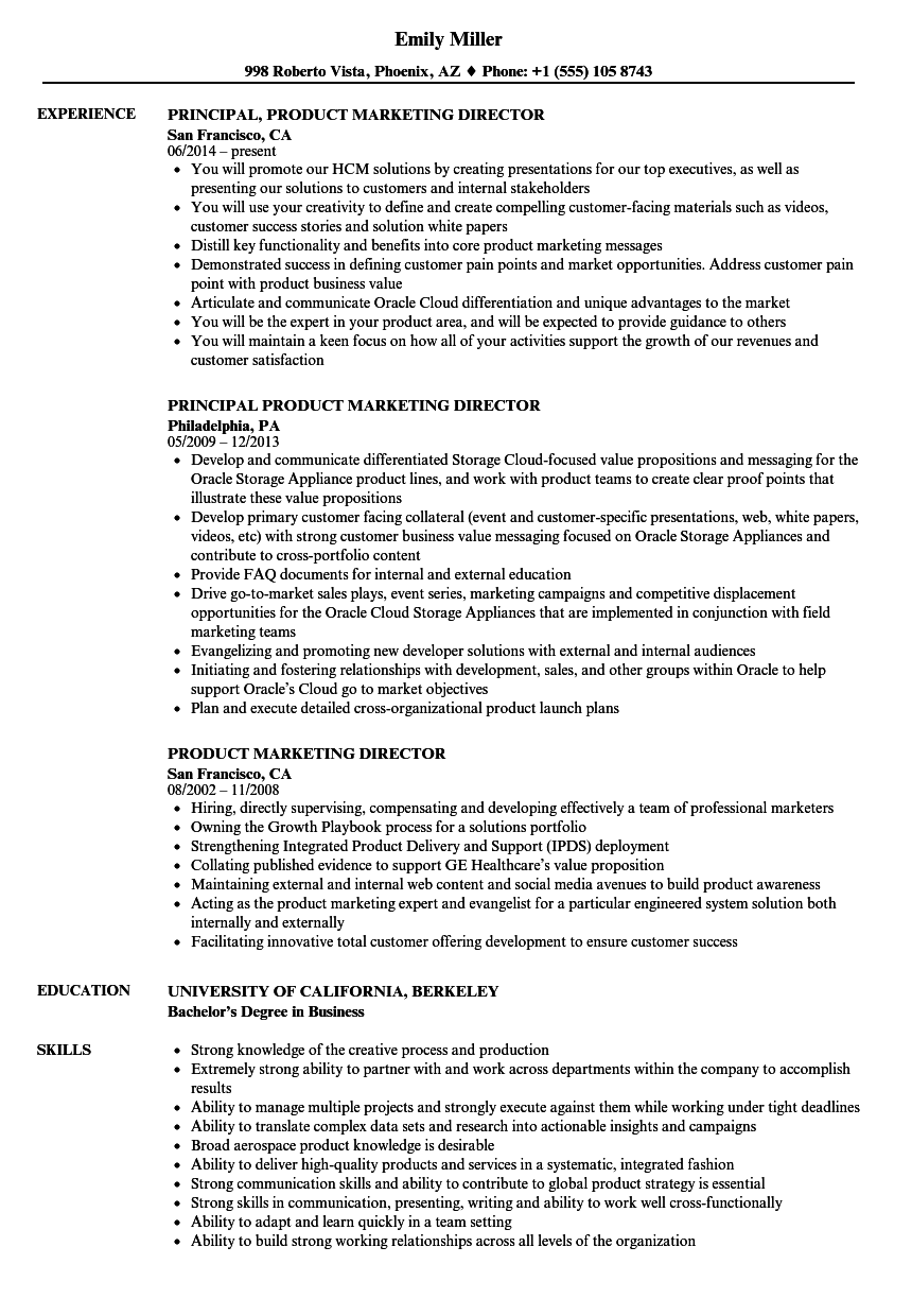 product marketing director resume samples