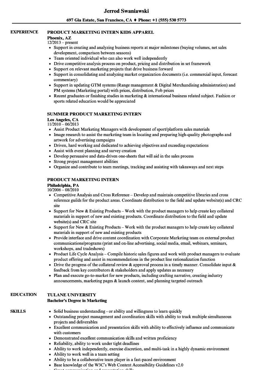 product    marketing intern resume samples