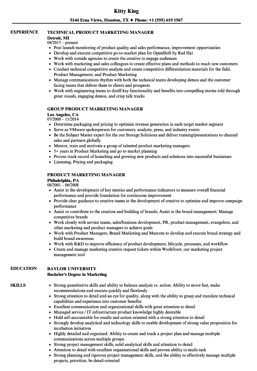 resume samples for marketing manager of products