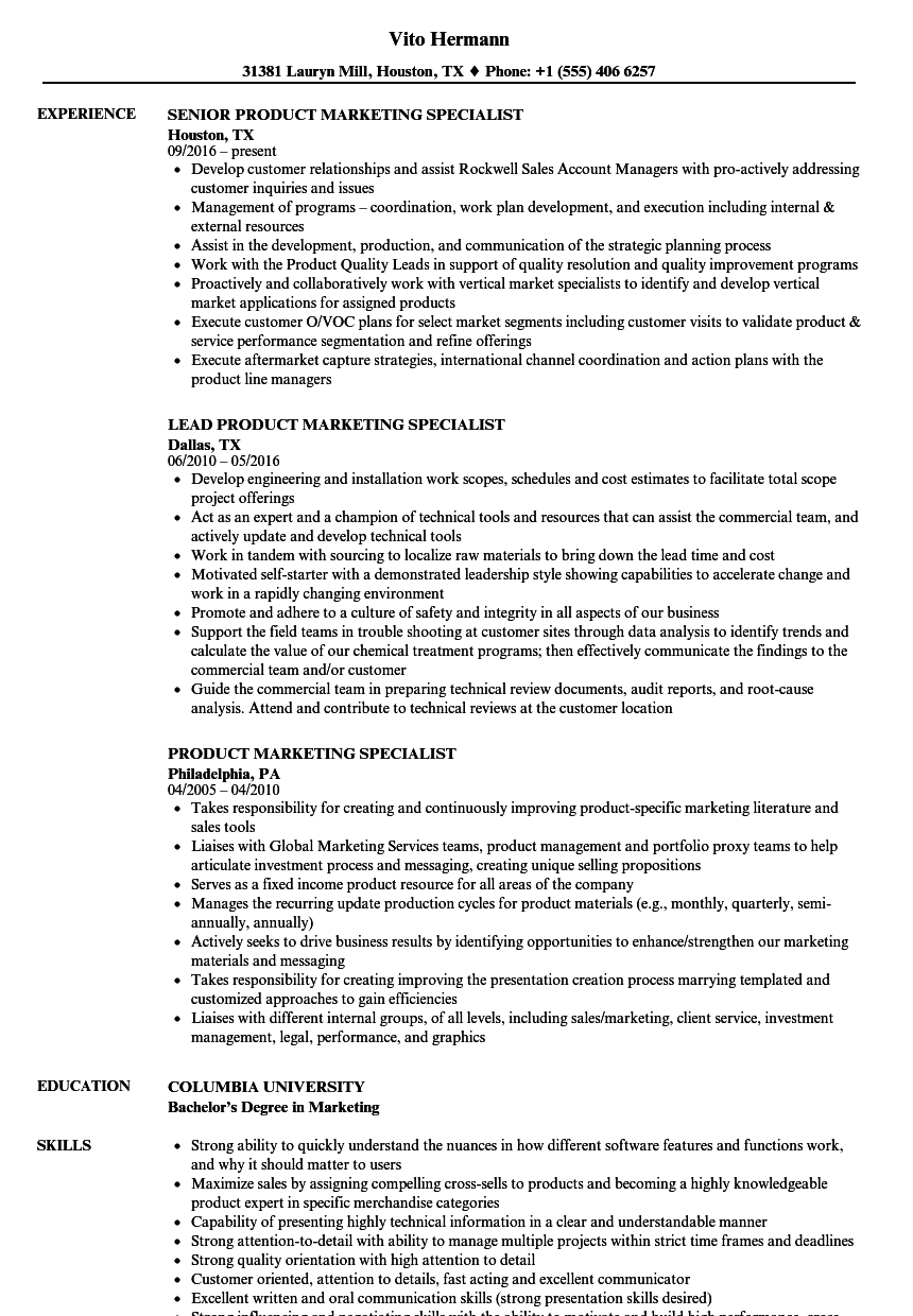 product marketing specialist resume samples velvet jobs