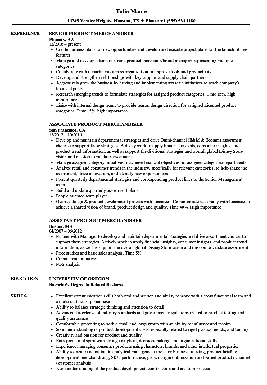 Product Merchandiser Resume Samples