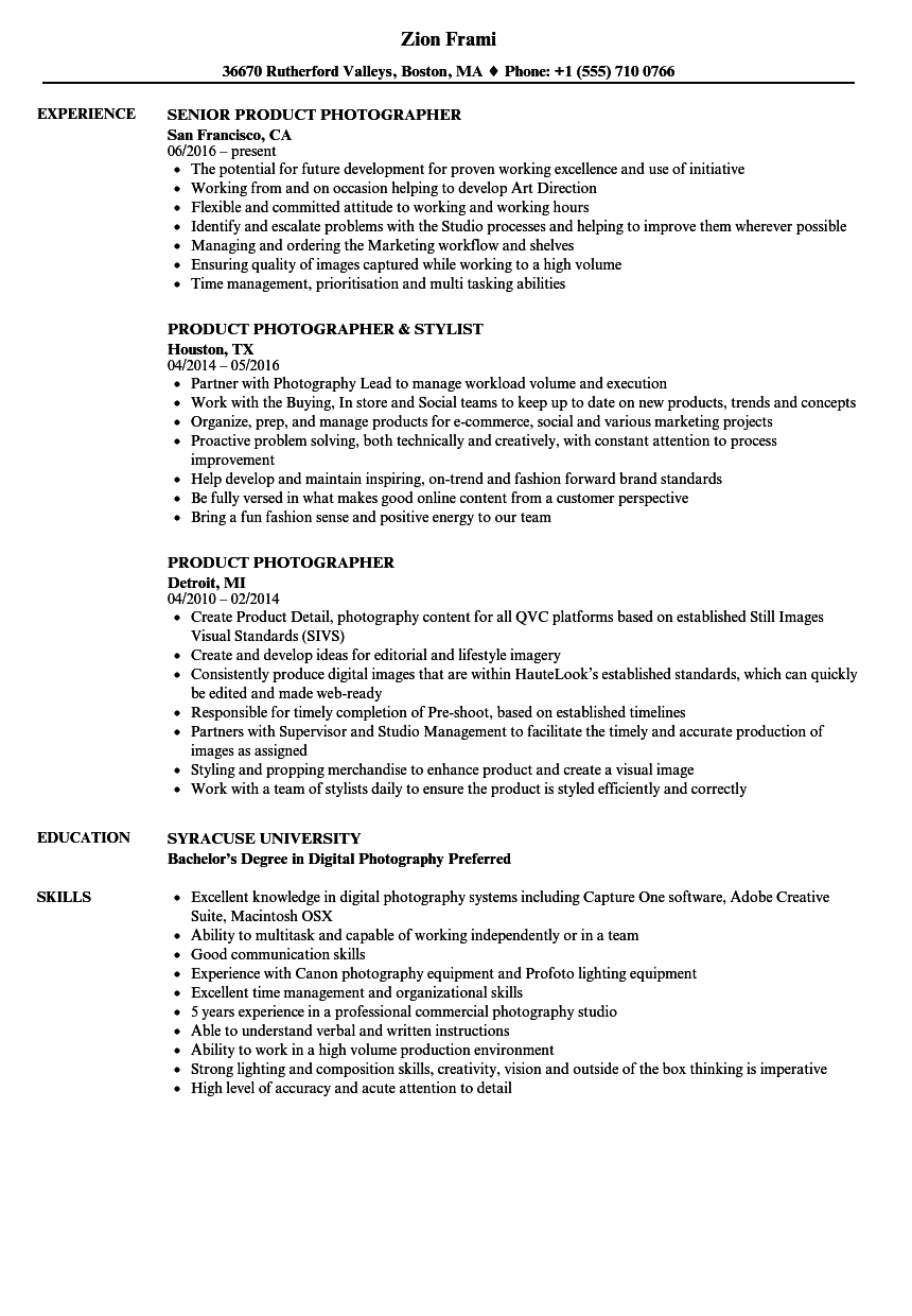 digital photographer resume