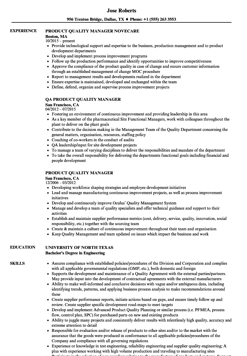 product quality manager resume samples