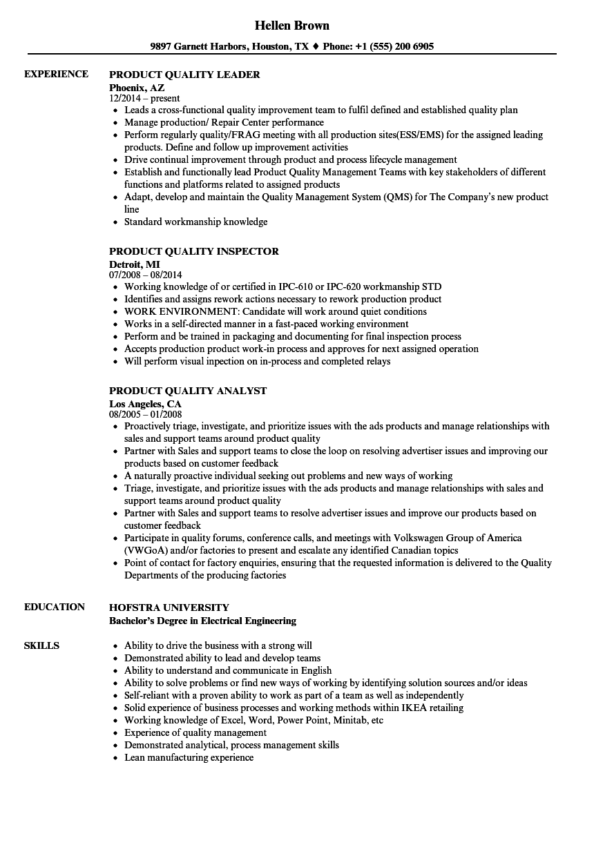 product quality resume samples