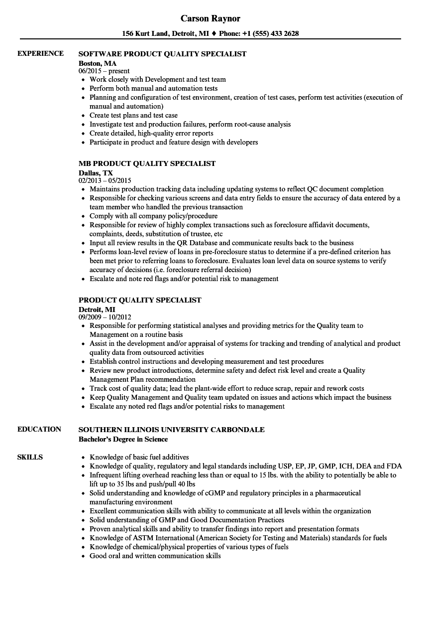 Product Quality Specialist Resume Samples | Velvet Jobs