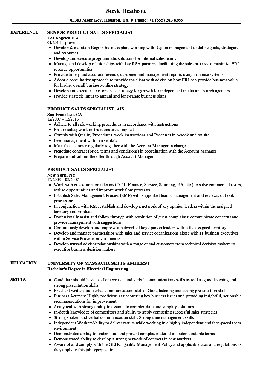 Product Sales Specialist Resume Samples | Velvet Jobs