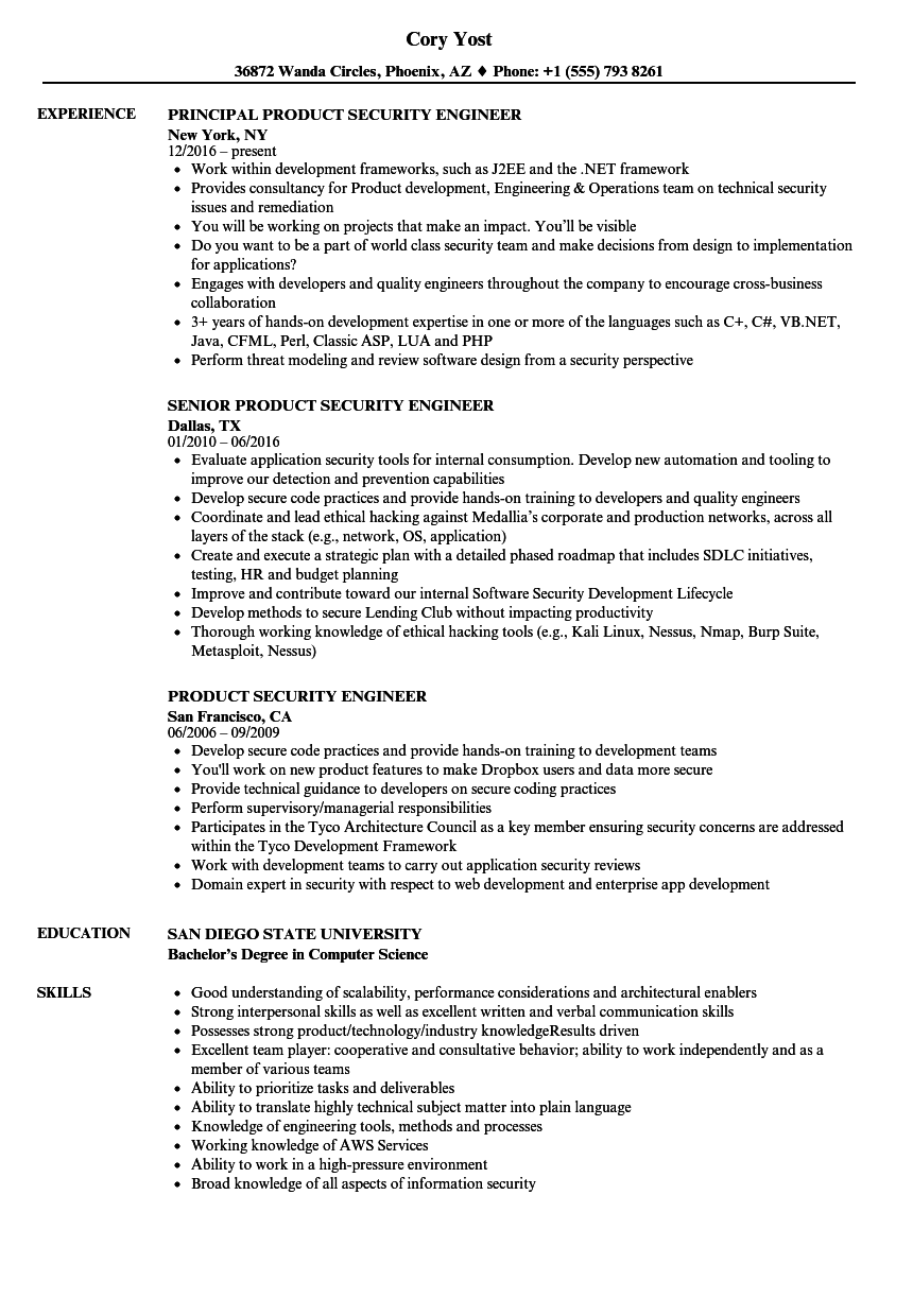product security engineer resume samples