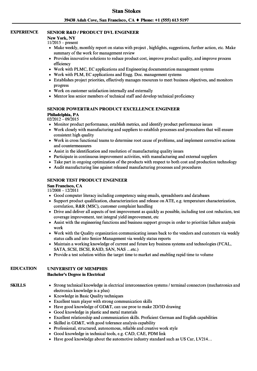 dft engineer resume